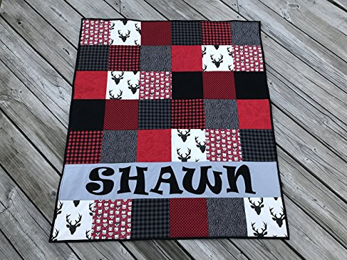 Personalized Buffalo Plaid Red and Black Baby Boy Quilt - Crib Size by Mickey's Creations