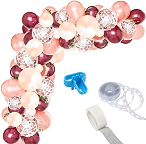 Burgundy Balloon Garland Kit, 12Inch Balloon Garland Including Burgundy,Rose Gold,Peach Pearl & Rose Gold Confetti Assorted Balloons Decorations Backdrop Ideal for Birthday Baby Shower Party