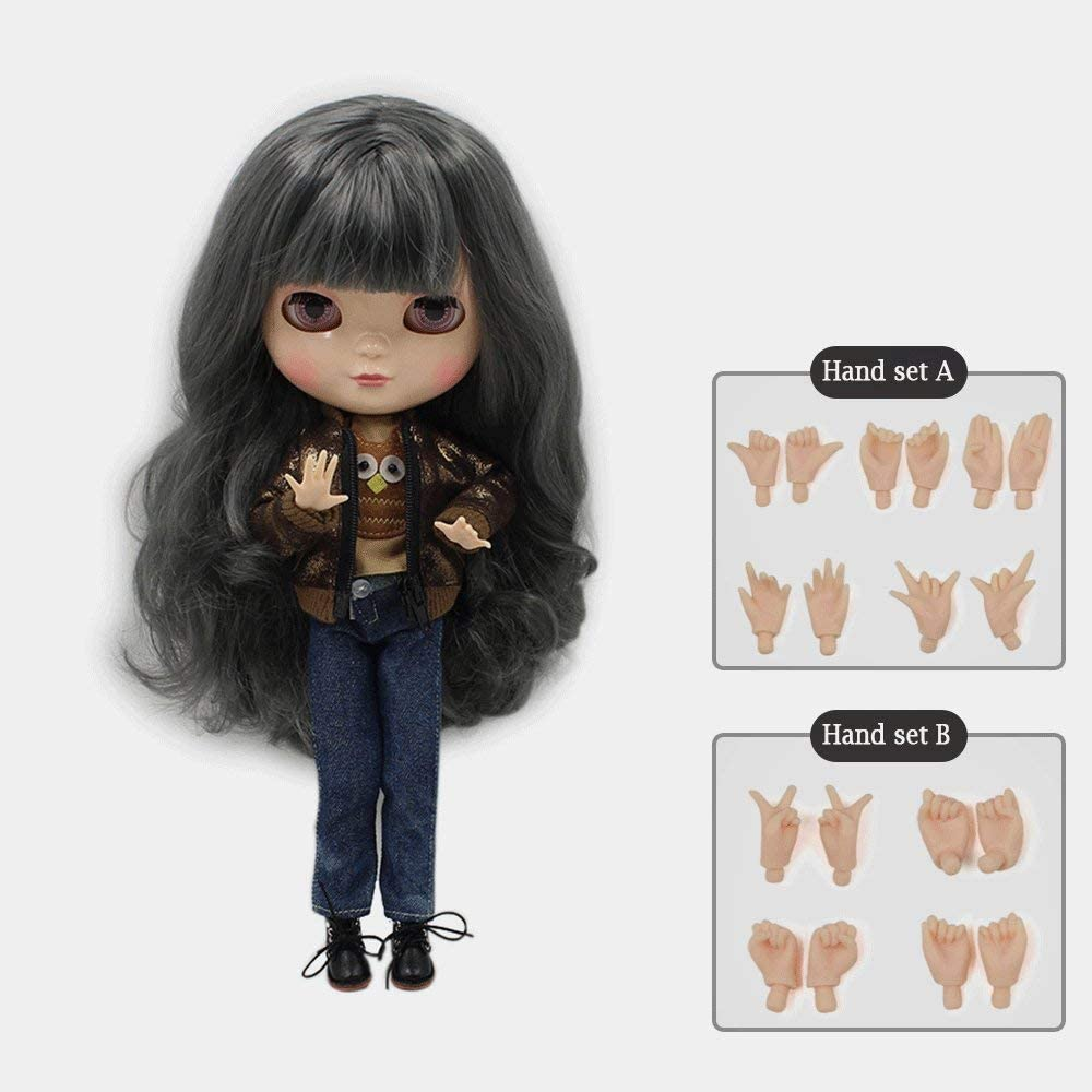 19 Joints Female Nude Body for Blythe 12inch Doll Custom Accs Black Skin