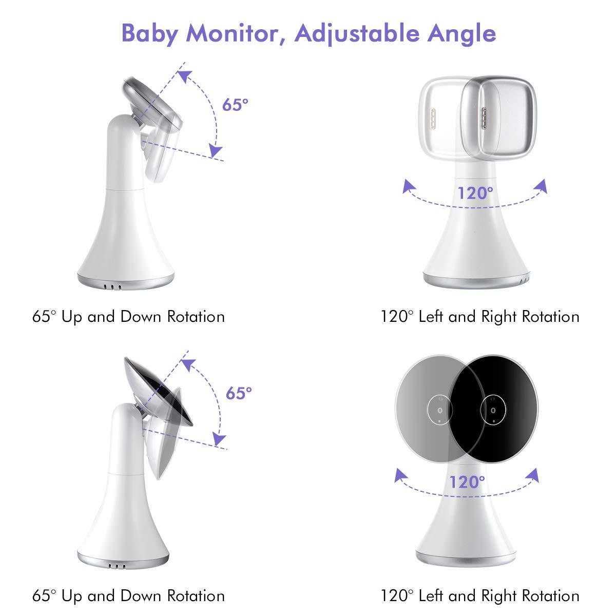 visi/ón nocturna fecha c/ámara port/átil HD con altavoz Monitor para beb/és monitor inal/ámbrico para beb/és digital de 2.4 GHz con funci/ón VOX temperatura ambiente alcance hasta 260m hora alarma