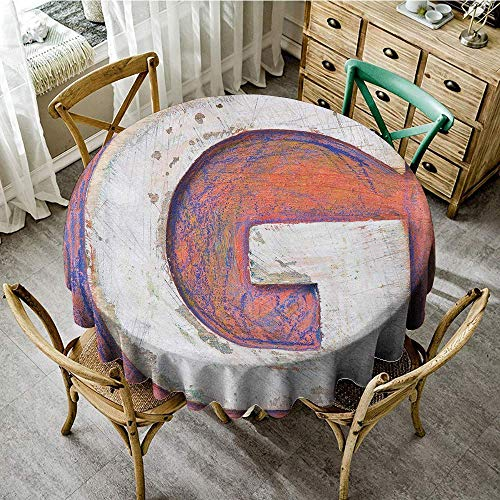 DONEECKL Easy Care Tablecloth Letter G Worn Looking Background with Grunge Uppercase G Plank Natural Print and Durable D47 Salmon Violet Blue White