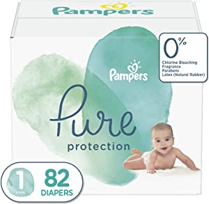 Diapers Newborn/Size 1 (8-14 lb), 82 Count - Pampers Pure Protection Disposable Baby Diapers, Hypoallergenic and Unscented Protection, Super Pack