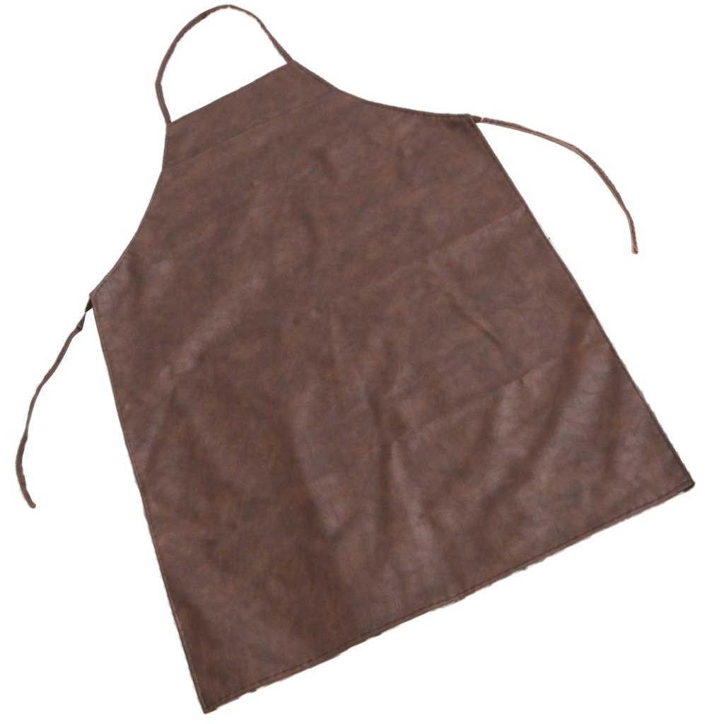 Baoblaze Leather Apron Super Waterproof Oil and Stain Proof Apron for Men and Women - Brown, as Described