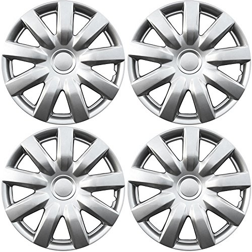 Hubcaps for Toyota Camry (Pack of 4) Wheel Covers - 15 Inch, 9 Spoke, Snap On, Silver