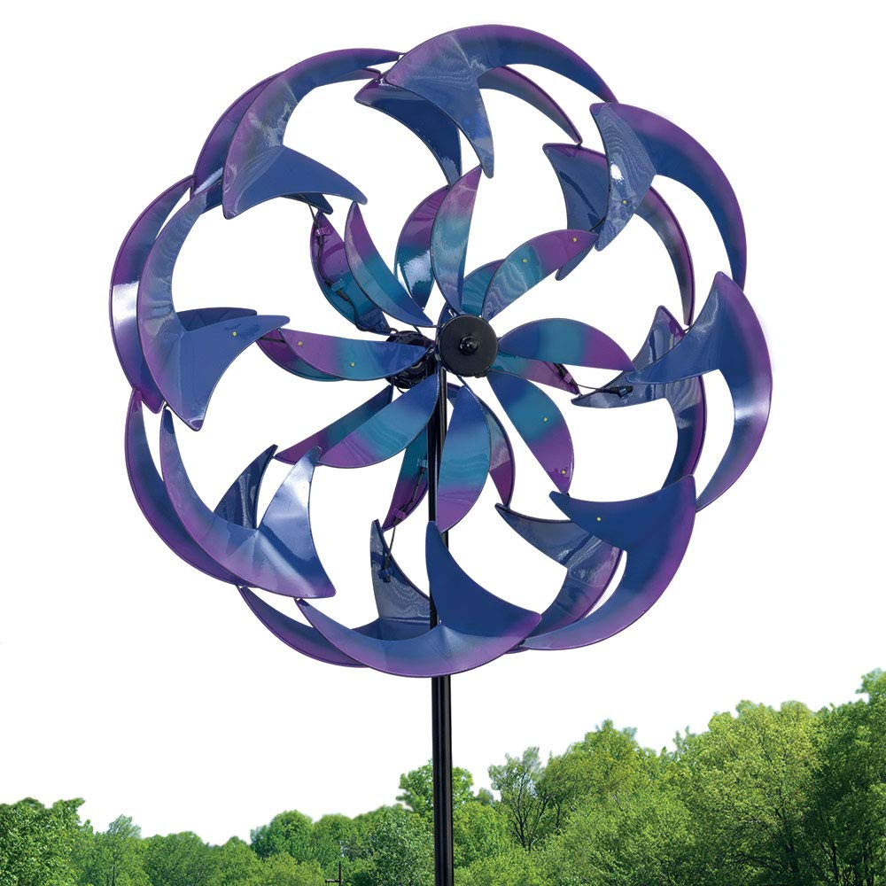 Bits and Pieces - Wind Powered LED Sea Breeze Wind Spinner Decorative Lawn Ornament Wind Mill - Spectacular Kinetic Garden Spinner with Light Show