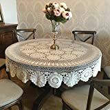 YIZUNNU Beige Round Handmade Crochet Tablecloth Cotton Lace Table Doilies (59'')