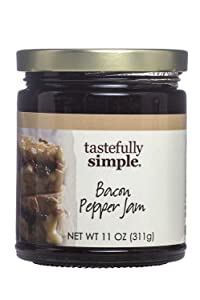 Tastefully Simple Bacon Pepper Jam - Add Flavor to Meatloaf, Grilled Cheese, Burgers, Grilled Poultry - 11 oz