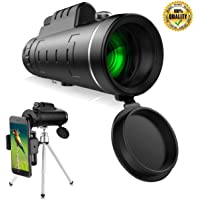 Monocular Telescopes, Axifo 40x60 Dual Focus Waterproof Spotting Scopes, Low Night Vision with Phone Clip and Tripod for Cell Phone-for Bird Watching, Hunting, Camping, Hiking, Outdoor, Surveillance Sports