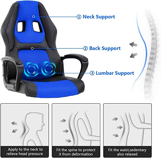 PC Gaming Chair Racing Office Chair w/Armrest Massage Lumbar Pillow,Video Game Chair Computer Chair Swivel Height Adjustable