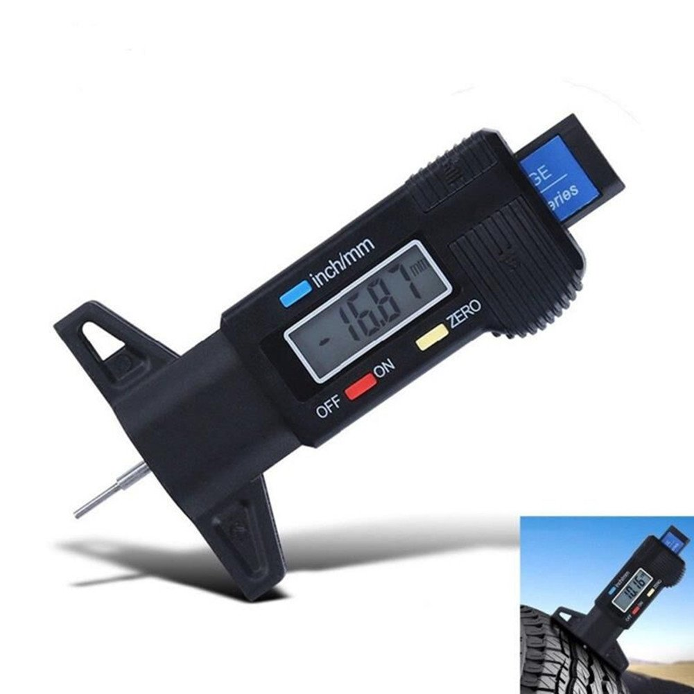 Colomba Misuratori di profondit/à Digitale per Auto Pneumatico 0-25.4mm con LCD Display Inch//mm Regolabile Profondimetro Metrico Misuratore