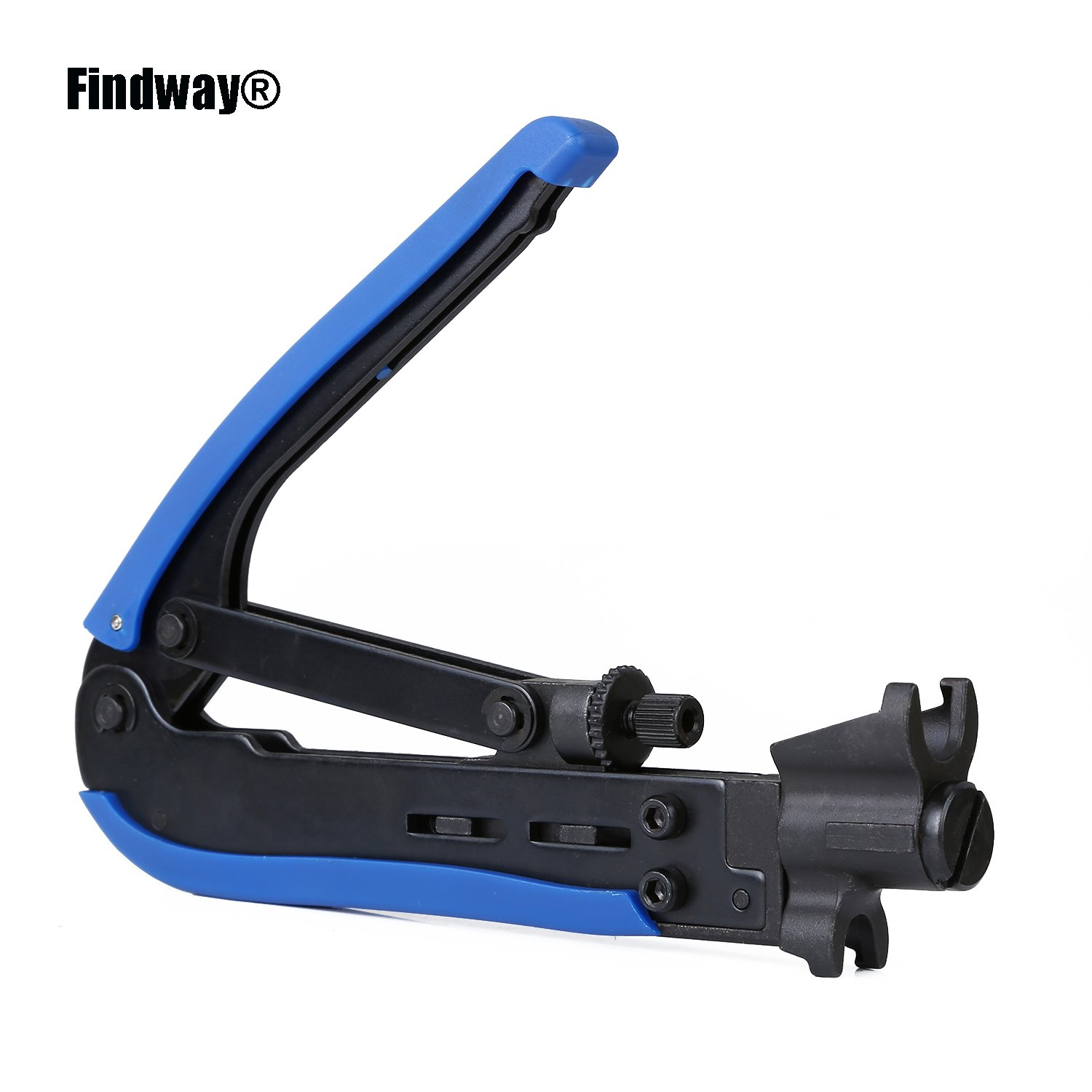 Findway RG59 RG6 RG11 Cable F-Connector Compression Tool Crimpers Steel Adjustable Compression Tool-Hardened Steel Construction With Black Oxide Finished