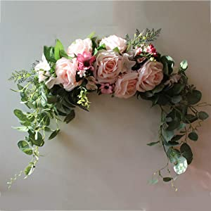 Yugust Decorative Floral Swag,23.6in Artificial Rose Wreath with Green Leaves Twig Rattan, Front Door Peony Floral Arch Garland Swag for Wedding Party Home Decor,Pink