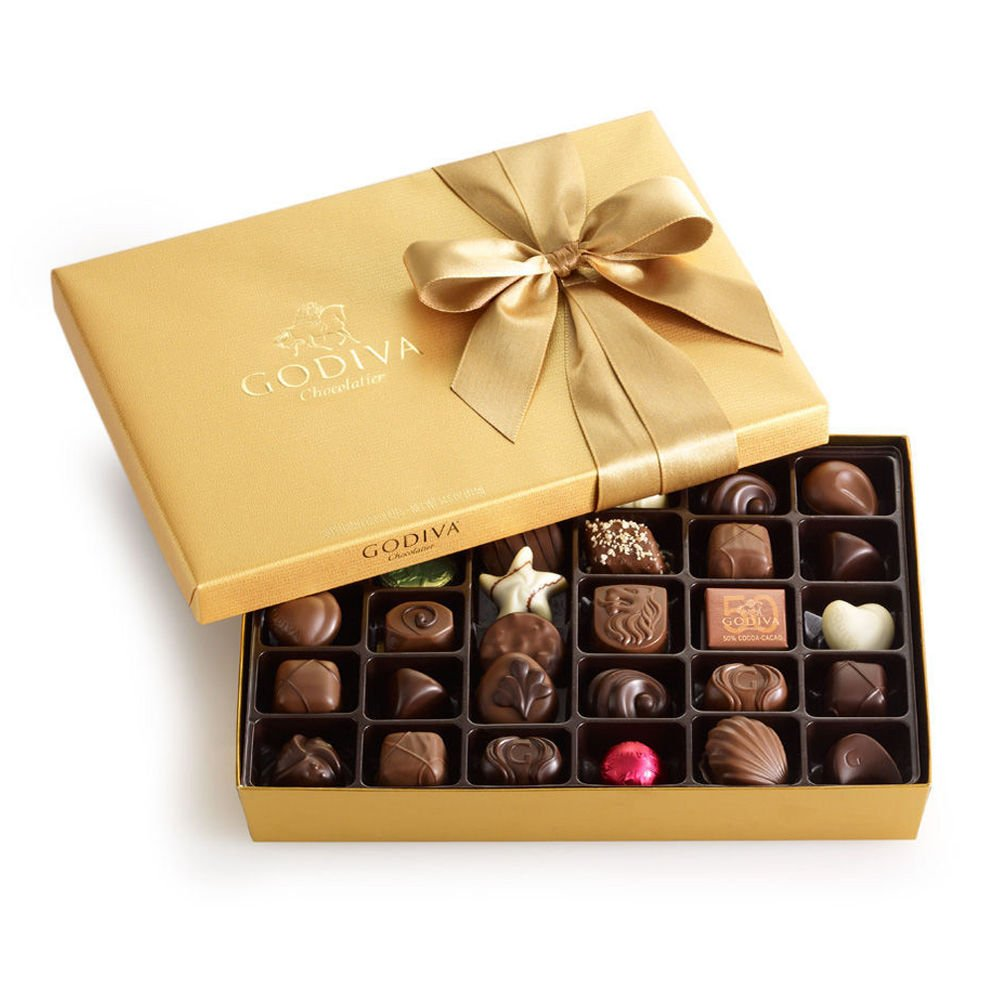 Amazon.com : Godiva Chocolatier Gold Ballotin, Classic Gold Ribbon ...