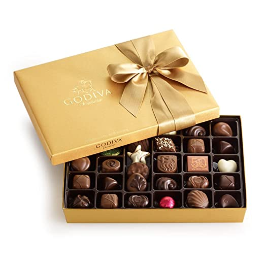 Godiva Chocolatier Gold Ballotin, Classic Gold Ribbon, Great for Gifts, Gourmet Chocolate, Chocolate Gifts, Gifts for Her, Mothers Day Gift, 36 Count