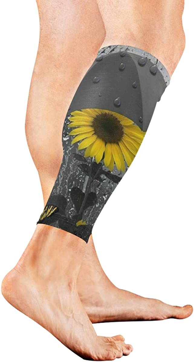 Yellow Grey Sunflower And Butterflys Under Umbrella Compression Leg Sleeves 1 Pair - 2 Sleeves Cooling Sun Protection Youth & Adult Sizes Football Baseball Basketball Cycling Tennis