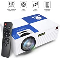 ONEMIX 2020 Upgraded mini projector 3800 Lux 1080P Supported and 170'' Display Portable Video Projector with 50,000 Hrs LED Lamp Life, Compatible with TV Stick, PS4, HDMI, VGA, TF, AV and USB