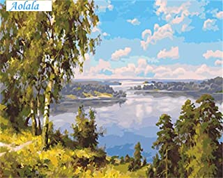 Picture DIY Painting by Numbers Oil Painting On Canvas of Landscape Painting and Calligraphy for Living Room,60x75cm