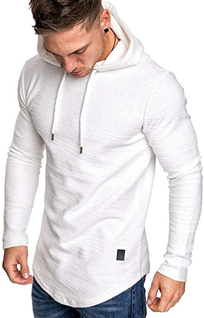 Fashion Short Sleeve Casual Muscle Hoodie for Spring Summer Male ZHHAO Mens Slim T-Shirt