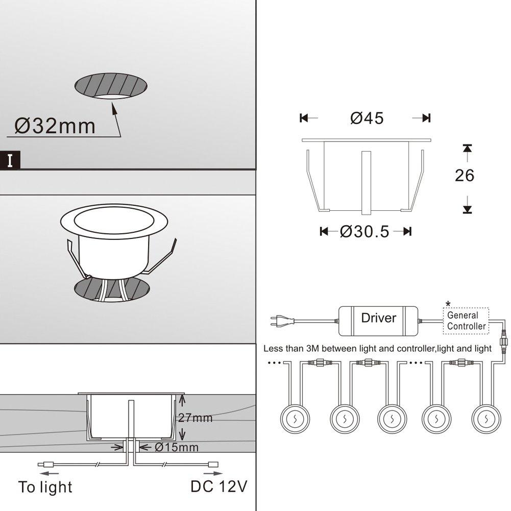 Lot de 20 QACA Spot Encastrable LED Lampe Exterieur 1W 12V IP67 Imperm/éable pour Terrasse Blanc Chaud Jardin Piscine