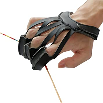 Xrten 3 Finger Schie/ßhandschuh,Bogenschie/ßen Handschuh Bogensport Fingerschutz Bogen Handschuh