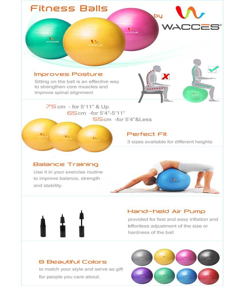 Wacces Professional Exercise, Stability and Yoga Ball for Fitness, Balance & Gym Workouts- Anti Burst - Quick Pump Included (Yellow, 75 cm) by Wacces (Image #5)