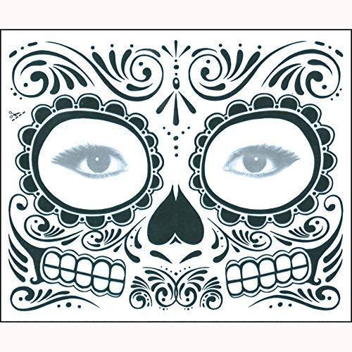 (MatureGirl Hollaween Horror Decorative Mask Day of The Dead Dia de Los Muertos Face Mask Sugar Skull Tattoo Pack of 2, Sugar Skull Temporary Tattoo Floral Design)
