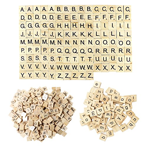 200 Pieces Wood Scrabble Tiles, Complete Sets Alphabet Toy Block For Crafts Pendants Spelling Letter Game ()