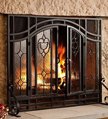 Small Two-Door Floral Fireplace Screen with Beveled Glass Panels