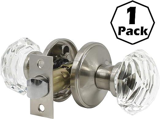 Diamond Crystal Door Knobs Lock Bed Bath Accessories Venus Fit Satin Nickel