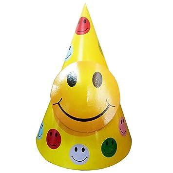 Party Propz Emoji Cap 10 Pcs Smiley Birthday Decoration