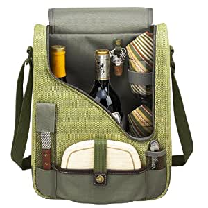 Picnic at Ascot Wine and Cheese Cooler Bag Equipped for 2 with Glasses, Napkins, Cutting Board, Corkscrew , etc.  - Olive Tweed