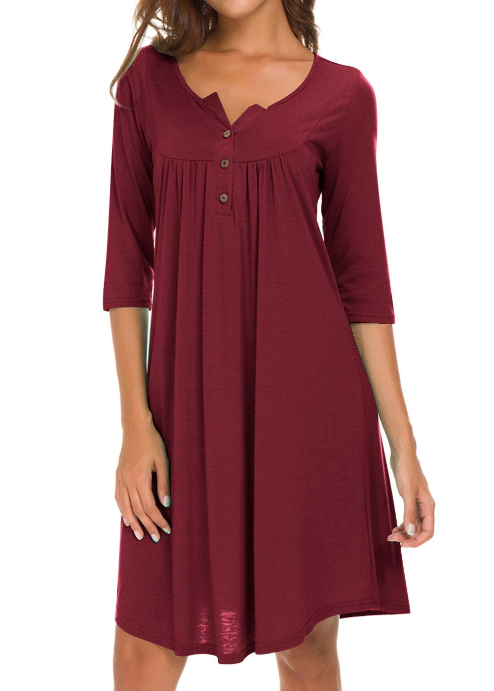 AMCLOS Womens V Neck Dress Casual Swing Simple Ruffle Button up Loose Dresses 3/4 Sleeve Long Sleeve (Large, Long-Wine Red)