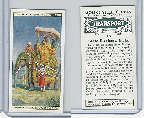 C0-0 Cadbury Chocolate, Transport, 1925, 18 State Elephant, India