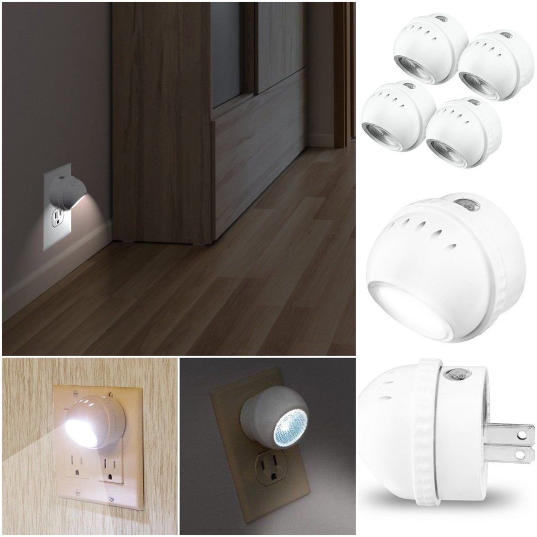 Pack of 4 Matchless Popular LED Nightlight No Bulbs Rotates 360 Degrees Auto Sensor Color White with US Plug