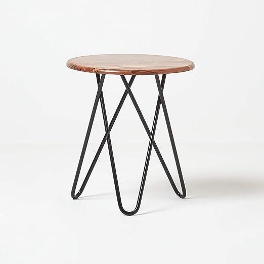 Homescapes Soho - Mesa auxiliar para sofá (madera y metal, 45 cm ...