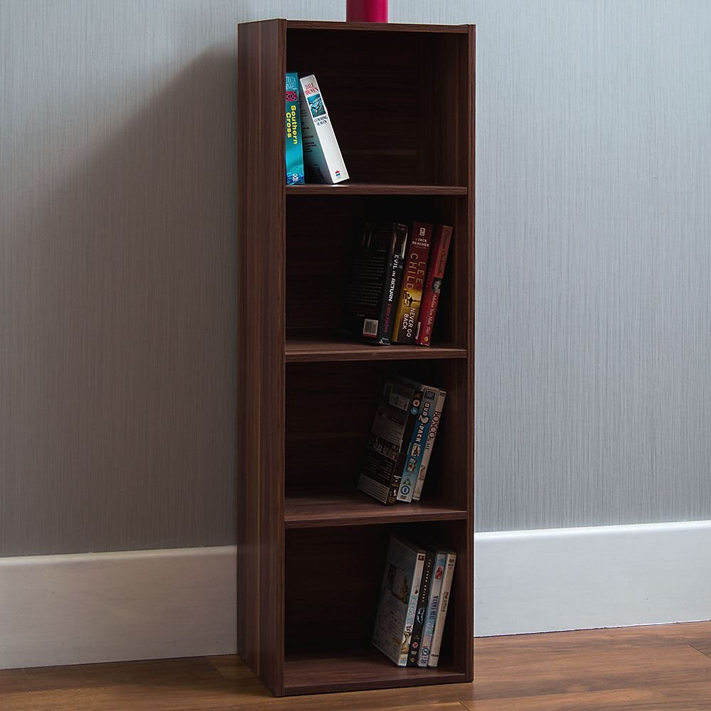 Home Discount Oxford 4 Tier Cube Bookcase, Walnut Wooden Shelving Display Storage Unit Office Living Room Furniture