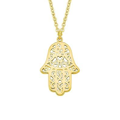 Oliver Damen-Kette 45 cm So Pure mit Hamsa Hand der Fatima-Anhänger 925  Sterling Silber gelbvergoldet  Amazon.de  Schmuck a6c119174e