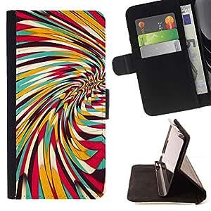 For Samsung Galaxy S3 III i9300 i747 Case , Vortex Whirl Abstract Lines Teal Yellow Pattern - la tarjeta de Crédito Slots PU Funda de cuero Monedero caso cubierta de piel