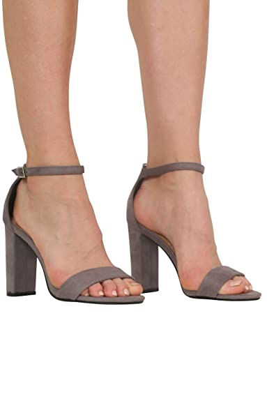 b5108d16fe4 PILOT® Women s Faux Suede Block Heel Barely There Strappy Sandals in Light  Grey Shoe 3
