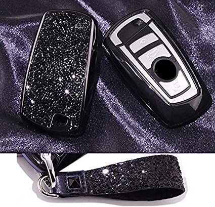 Silver Royalfox Luxury 3 4 Buttons 3D Bling Smart keyless Entry Remote Blade Key Fob case Cover for BMW 1 2 3 4 5 6 7 M Series,BMW X1 X3 X4 M2 M3 M4 M5 M6,with Keychain TM