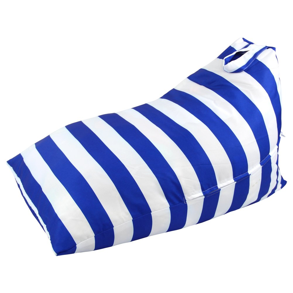 Basumee Stuffed Animal Storage Bean Bag Chair Cover Soft Pouch Kids Bean Bags Toys Organizer for Kids Bedroom(Blue/White)