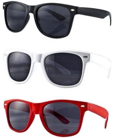 b25d33ed32421b Lot de 3 paires de lunettes de soleil style Wayfarer geek retro vintage  80 s - Noir