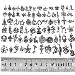 RUBYCA 160Pcs Wholesale Bulk Lots Tibetan Silver Color Mix Pendants Charms Bracelet Jewelry Mix5