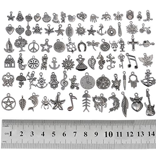 RUBYCA 160Pcs Wholesale Bulk Lots Tibetan Silver Color - Charms