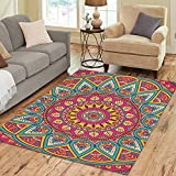 InterestPrint Indian Tribal Hippie Lotus Flower Mandala Polyester Area Rug Floor Mat 7' x 5', FeetTrippy Bohemian Boho Batik Throw Rayon Fiber Carpet Rugs for Home Living Dining Room Decoration