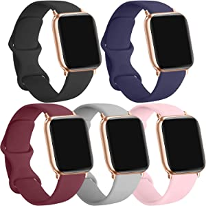 [5 Pack] Silicone Bands Compatible for Apple Watch Bands 42mm 44mm, Sport Band Compatible for iWatch Series 6 5 4 3 SE, Black/Navy Blue/Wine red/Pink/Gray, 42mm/44mm-S/M