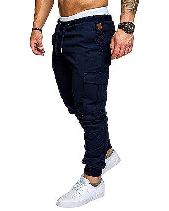 élégant et gracieux ramasser vente chaude authentique Pantalon Cargo Slim Homme Casual Été Pantalons Jogging Multi ...