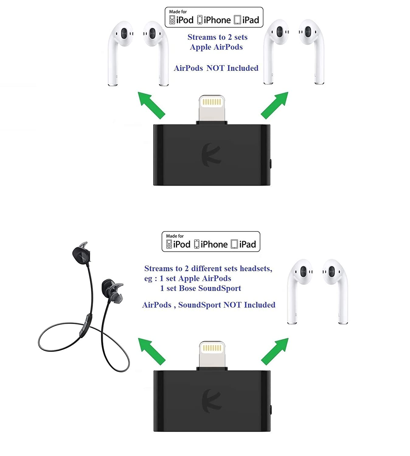 KOKKIA i10L/_Pro Black DIGITAL Bluetooth Splitter Transmitter with switchable aptX//Low-Latency aptX//FastStream//SBC codecs,compatible with Lightning Connector,compatible with iPhone,iPad,iPod Touch.