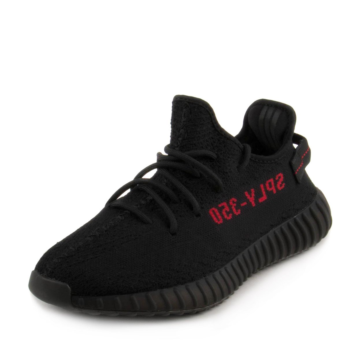 Adidas Mens Yeezy Boost 350 V2 Black/Black-Red Fabric Size 11