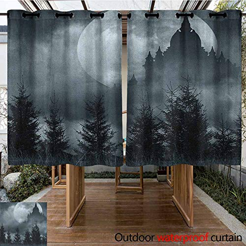 AndyTours Curtains for Living Room,Halloween,Magic Castle Silhouette Over Full Moon Night Fantasy Landscape Scary Forest,for Porch&Beach&Patio,K160C115 Grey Pale -